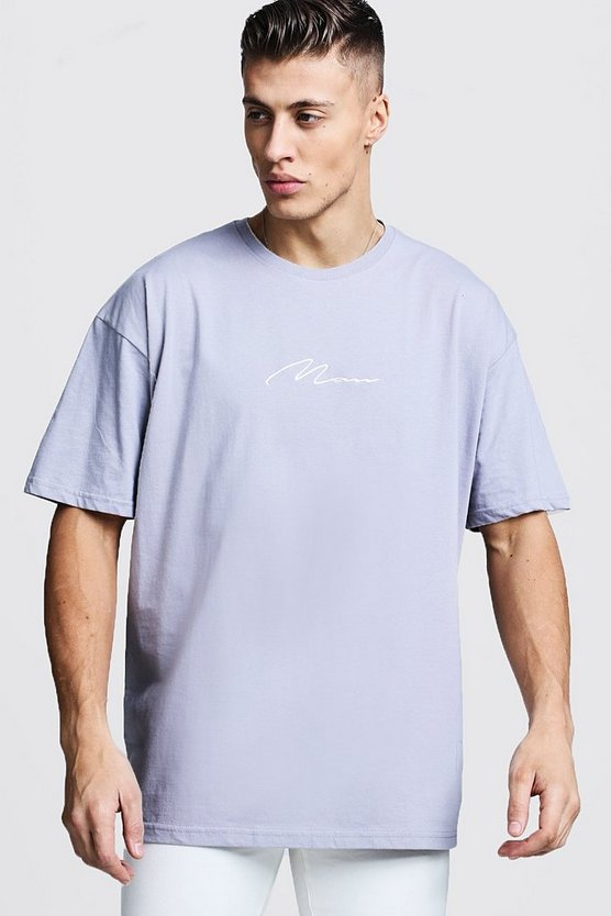 Mens Light grey Oversized Man Signature Embroidered T-Shirt