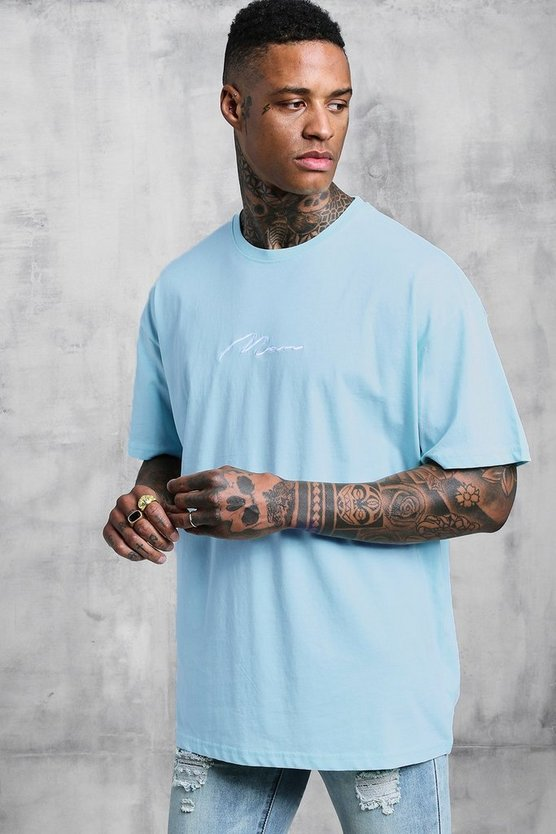 Mens Pale blue Oversized Man Signature Embroidered T-Shirt