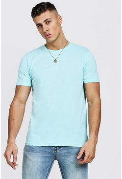 Mens Aqua Man Signature Embroidered T-Shirt