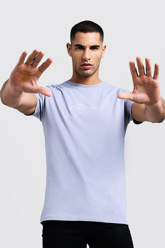 Man Signature Embroidered T-Shirt, Light grey, Uomo