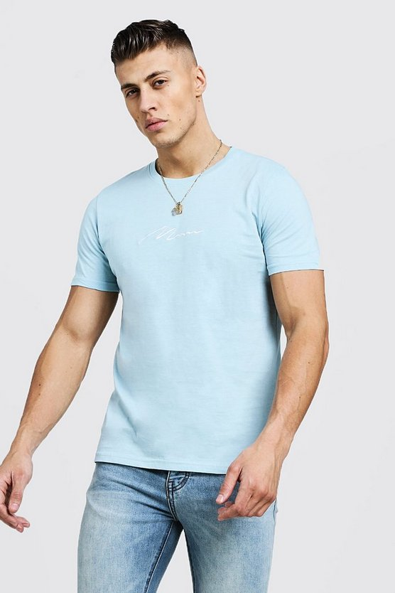 Mens Pale blue Man Signature Embroidered T-Shirt