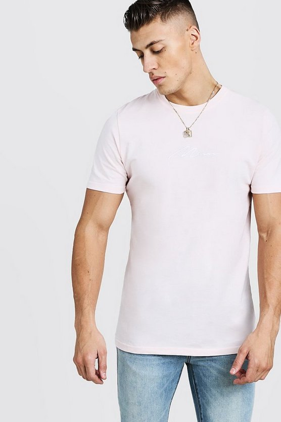 Pale pink Man Signature Embroidered T-Shirt