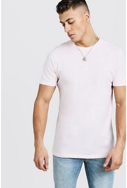 Mens Pale pink Man Signature Embroidered T-Shirt