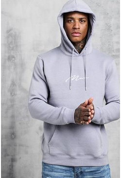 Light grey Man Signature Embroidered Hoodie