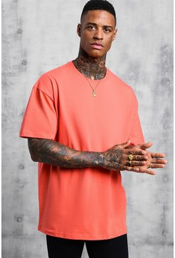 Mens Coral Oversized Crew Neck T-Shirt