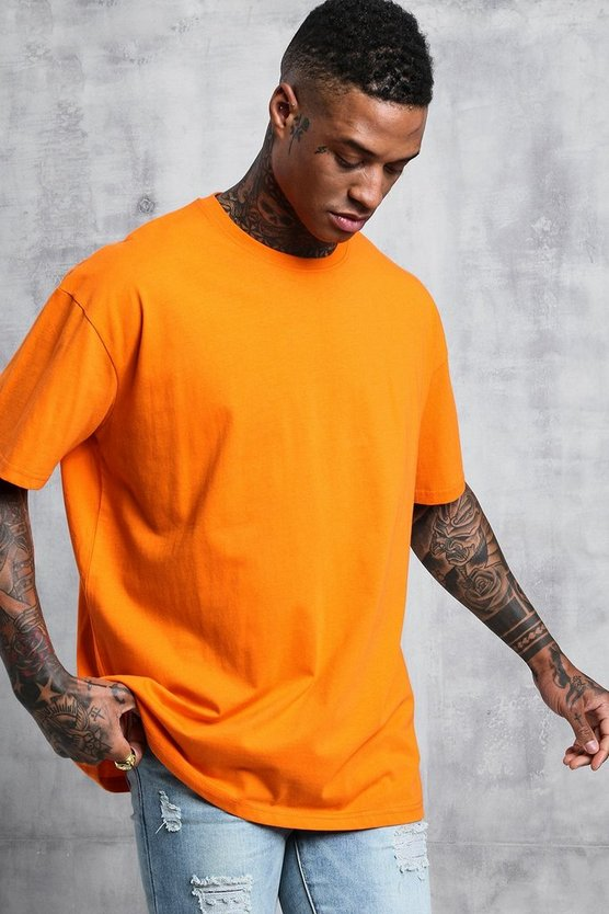 Mens Orange Oversized Crew Neck T-Shirt