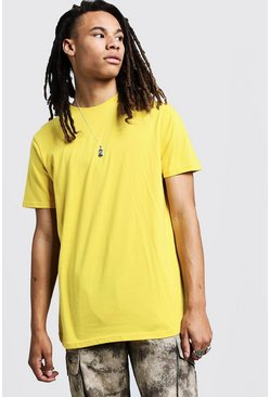 Short Sleeve Longline T Shirt With Curve Hem, Bright yellow, Uomo