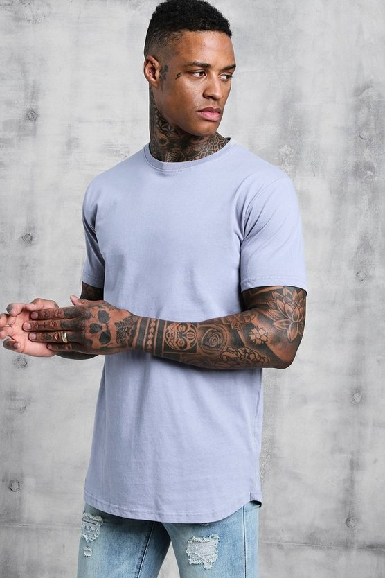 Mens Aqua Short Sleeve Longline T Shirt With Curve Hem