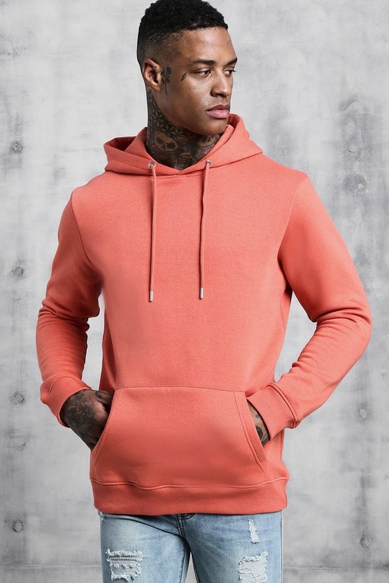 Coral Basic Over The Head Fleece Hoodie