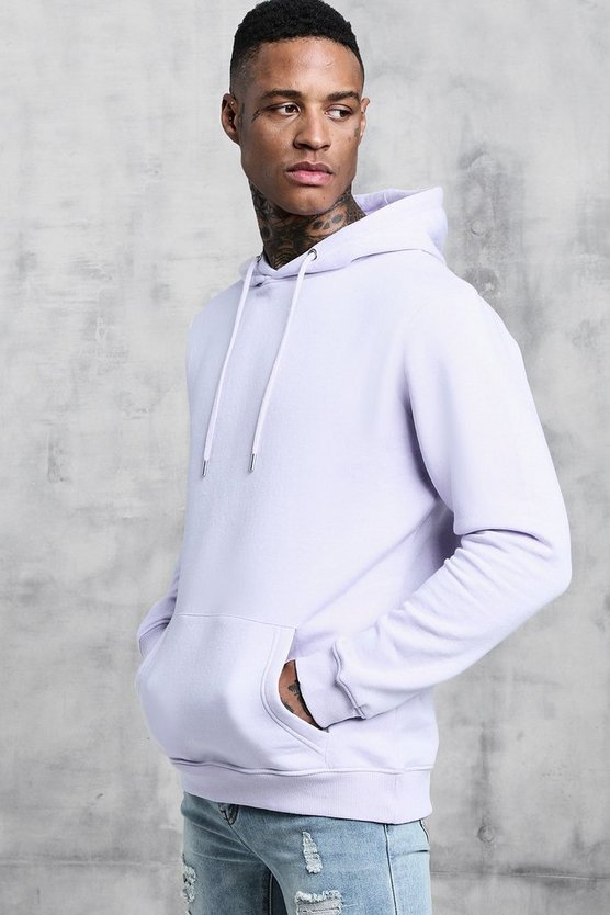 Mens Orchid Basic Over The Head Fleece Hoodie