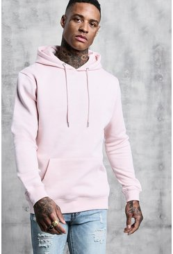 Basic Over The Head Fleece Hoodie, Pale pink, Uomo
