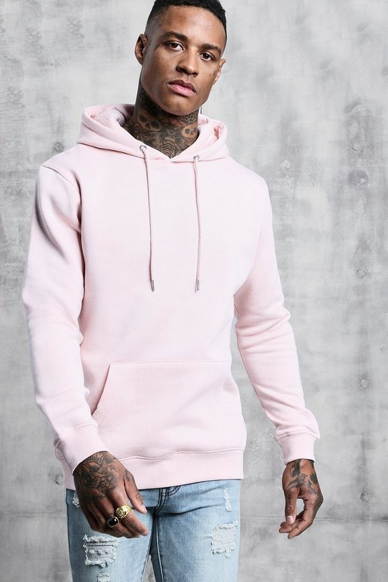 Mens Pale pink Basic Over The Head Fleece Hoodie