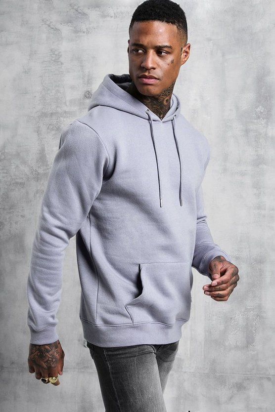Mens Light grey Basic Over The Head Fleece Hoodie