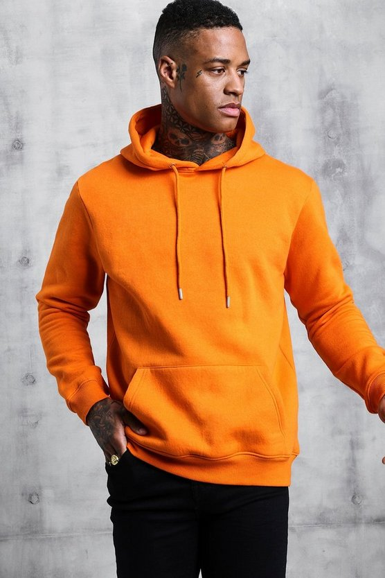 Orange Basic Over The Head Fleece Hoodie