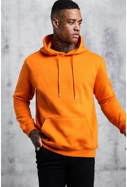 Mens Orange Basic Over The Head Fleece Hoodie