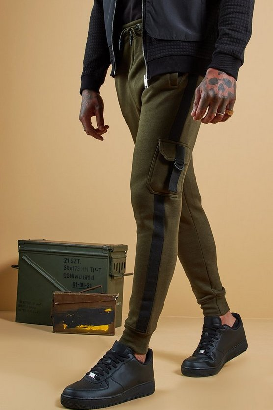 Mens Khaki Jersey Cargo Joggers With Side Tape