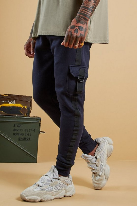 Mens Navy Jersey Cargo Joggers With Side Tape
