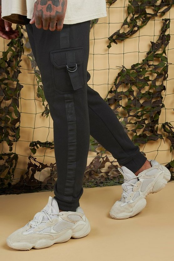 Mens Black Jersey Cargo Jogger With Side Tape