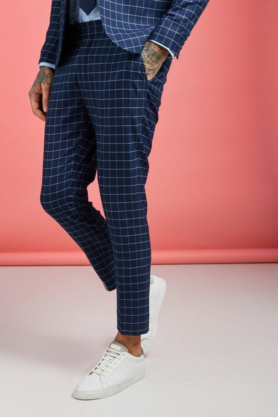 Mens Navy Windowpane Check Skinny Fit Cropped Trouser