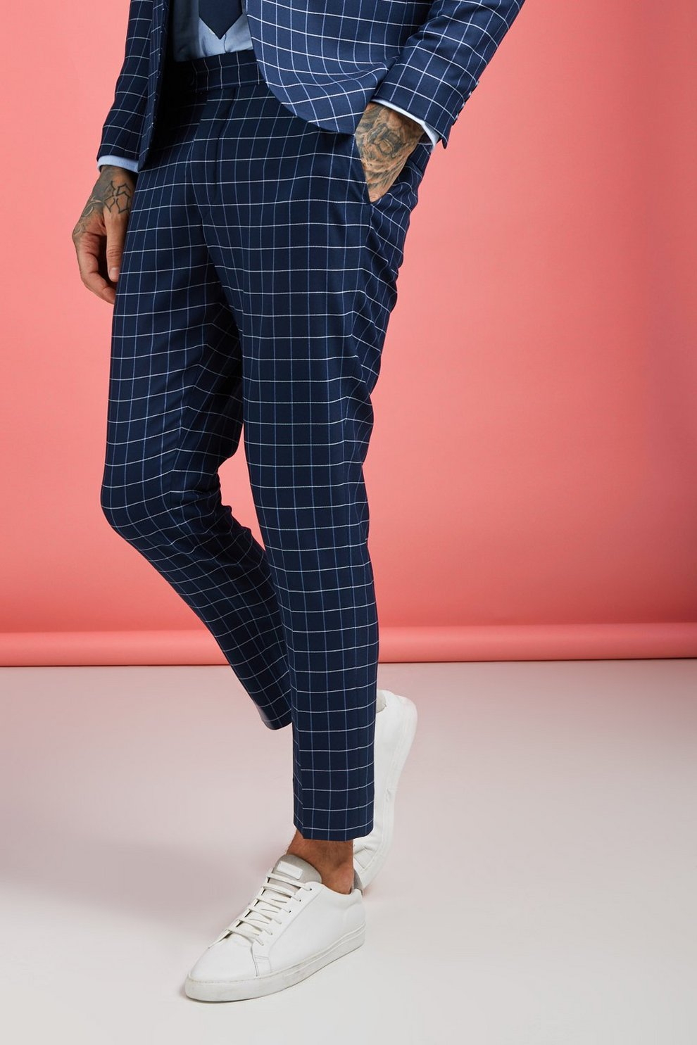 b9b3715867d8 Mens Navy Windowpane Check Skinny Fit Cropped Trouser