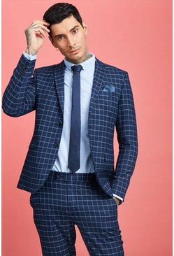 Mens Navy Windowpane Check Skinny Fit Suit Jacket