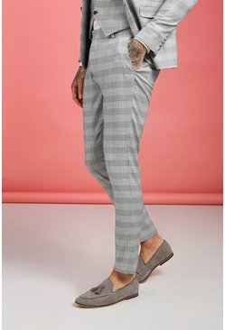 Grey Prince Of Wales Check Skinny Fit Pants