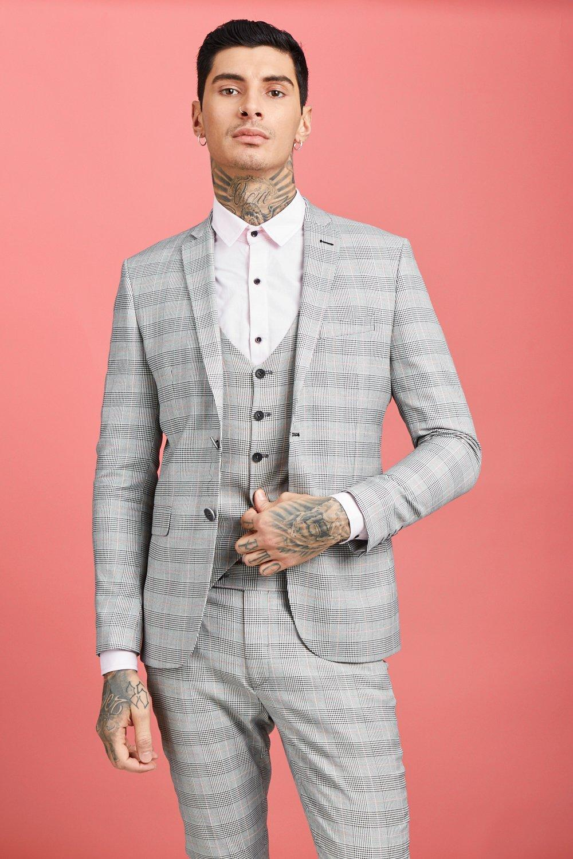 1960s Mens Suits | 70s Mens Disco Suits Prince of Wales Check Skinny Fit Suit Jacket $95.00 AT vintagedancer.com