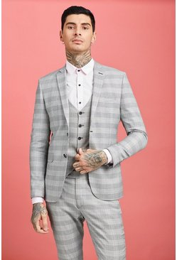 Mens Grey Prince of Wales Check Skinny Fit Suit Jacket