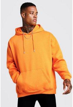 Mens Orange Fleece Oversized Over The Head Hoodie