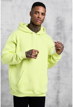 Mens Lime Fleece Oversized Over The Head Hoodie