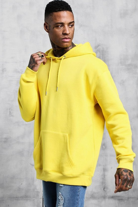 Mens Yellow Fleece Oversized Over The Head Hoodie
