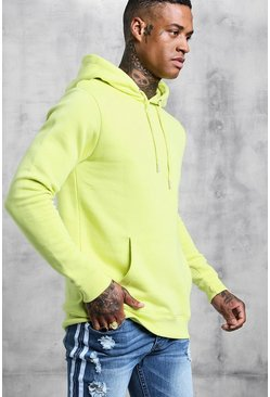 Mens Lime Basic Over the Head Fleece Hoodie