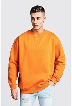 Sweat oversize en polaire, Orange, Homme