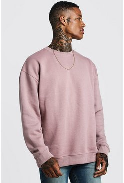 Oversized Sweatshirt aus Fleece, Braun, Herren