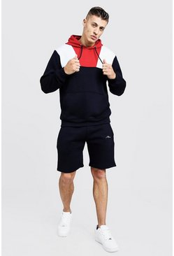 Mens Navy MAN Signature Colour Block Short Tracksuit
