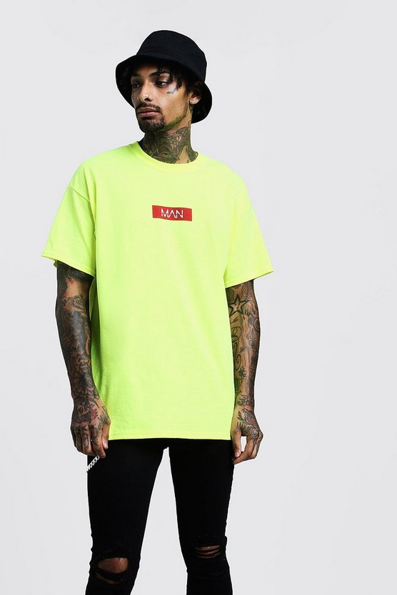 Mens Neon Oversized Red Box T-Shirt