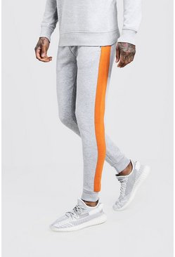 Mens Grey Skinny Fit Panelled Fleece Jogger