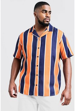 Mens Orange Big & Tall Contrast Stripe Revere Collar Shirt