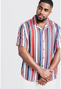 Mens Red Big & Tall Multi Stripe Revere Collar Shirt