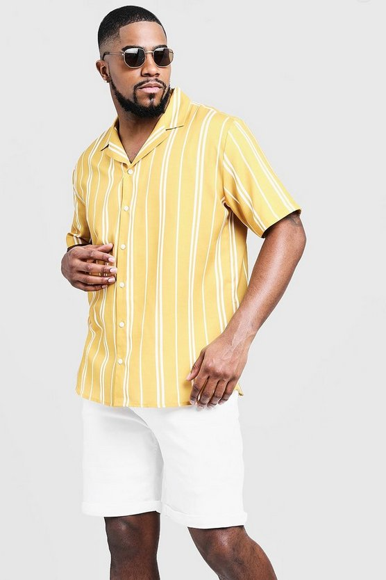 Mustard Big & Tall Striped Revere Collar Shirt