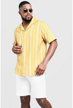 Mens Mustard Big & Tall Striped Revere Collar Shirt