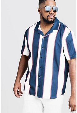 Mens White Big & Tall Breton Stripe Revere Collar Shirt
