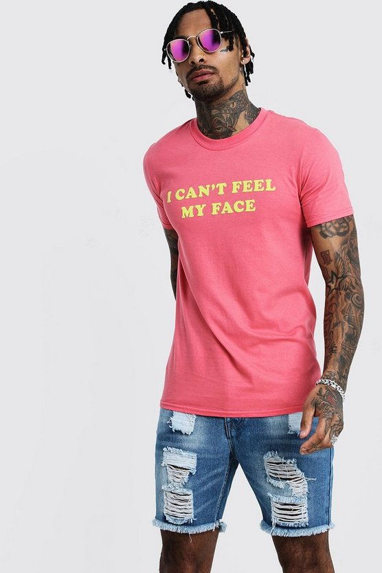 Mens Pink Oversized 'My Face' Printed T-Shirt
