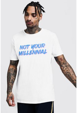 Mens White Not Your Millennial Printed Loose Fit T-Shirt