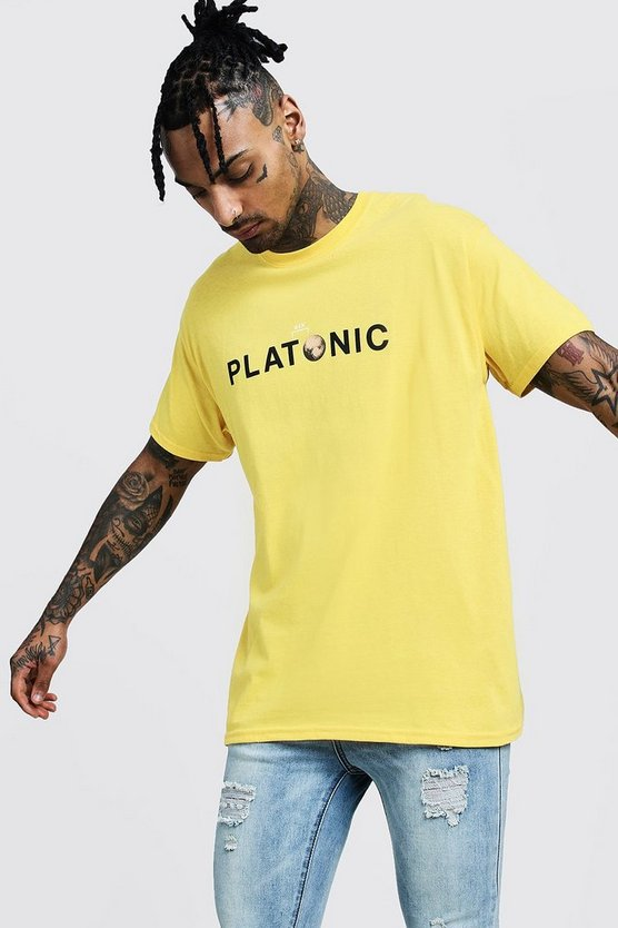 Mens Yellow Oversized Platonic Printed T-Shirt