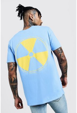 Mens Blue Regular Back Print Jersey Tee