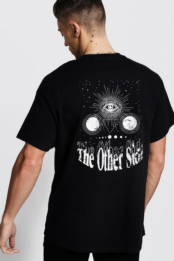 Mens Black Oversized Back Print 'Other Side' Slogan T-Shirt