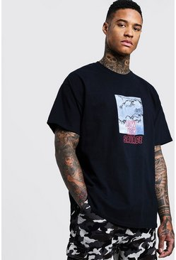 Mens Black Oversized Tee With Graphic Print