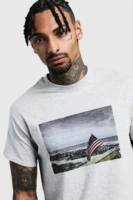 Mens Grey American Scenery Print T-Shirt