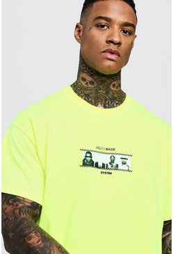 Mens Neon-yellow Neon Front & Back Design Oversized Tee